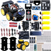 Elegoo UNO Project Smart Robot Car Kit V2.0 with Four-wheel Drives, UNO R3, Line Tracking Module, Ultrasonic Sensor, Bluetooth module, IR Remote, ect. Latest Intelligent and Educational Toy Car for Kids