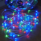 Auraglow Remote Control Battery Operated Invisible 5m Wire Outdoor Waterproof 50 Micro LED Christmas String Lights - RGB