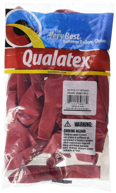Pioneer Balloon Company 25 Count Pearl Latex Balloon, 28cm , Ruby Red