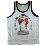 Unisex Jerseys Singlet Sport Muay Thai Boxing Fighting grey Cotton Size L