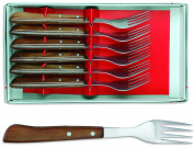 sonpó Online - Model 6tchm - Case of 6 Table Forks chuleteros - Compressed Wood Handle and Stainless Steel Blade.