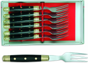 sonpó Online - Model alb6tchne - Case of 6 Table Forks chuleteros - Fibre Handle and Stainless Steel Blade.