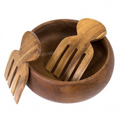 Wooden Salad Bowl & Serving Hands Set