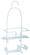 NEW RUSTPROOF WHITE PLASTIC COATED HANGING RACK SHOWER TIDY STORAGE BASKET CADDY