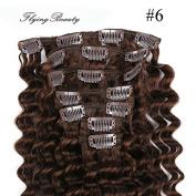 Deep Curl Deep Wave Brown Brazilian Clip in Hair Extensions 100% Remy Human Hair 20 Inches(50cm) 80g 7pcs/set, Colour