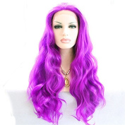 Long Body Wave Mermaid Dark Purple Synthetic Lace Front Wig With Heat Resistant For Women Glueless Replacement Drag Queen Wig
