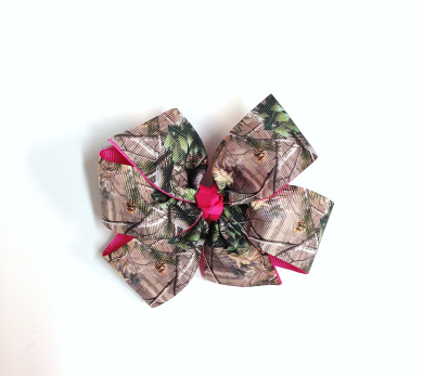 Girls Tan Brown Green Camouflage Hair Bow With Hot PInk Ribbon Teen Camo Hair Accessory Camo Barrette