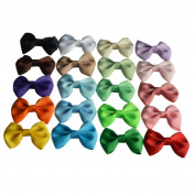 Bzybel Baby Girls Boutique Grosgrain Ribbon Hair Bow Clips 6.4cm Newborn Small Hairbows With Alligator Clips Pack Of 20pcs