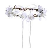 Merroyal White Flower Headband Crown Garland Halo for Wedding Festivals