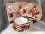 FINE BONE CHINA ANTIQUE ROSE CUPS/SAUCERS/PLATE AFTERNOON TEA SET GIFT BOXED UK POSTAGE FREE
