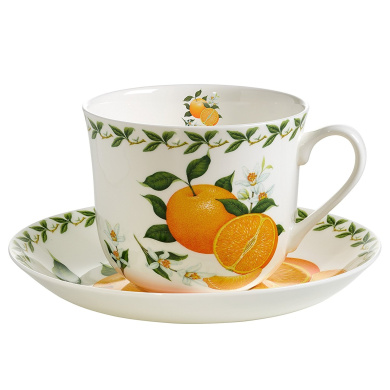 maxwell williams orchard fruits pb8110 porcelain breakfast cup and saucer orange gift box. Black Bedroom Furniture Sets. Home Design Ideas