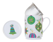 The CIJA Baubles - Tea Porcelain with Stainless Steel Filter, White
