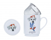 The CIJA The Hipster Zoo Mini Dog Tea Porcelain with Stainless Steel Filter, White