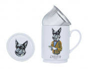 The CIJA The Hipster Zoo MR. Doc Dog Tea Porcelain with Stainless Steel Filter, White