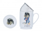 The CIJA The Hipster Zoo Mr. Teckel - Tea Porcelain with Stainless Steel Filter, White