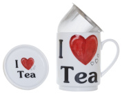 The CIJA I Love Tea - Herbal Tea Porcelain with Stainless Steel Filter, White