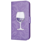 iPhone 6S Case,iPhone 6 6S Wallet Case, PHEZEN Bling Liquid Glitter Love Heart Floating 3D Wine Glass Luxury Pu Leather Magnet Flip Case Cover with Credit Card Slots for iPhone 6/6S 12cm , Purple