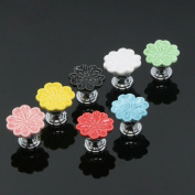 SunKni Prime Quality Multicolor Flower Floral Ceramic Knobs Handles Pulls for Kids Kitchen Furniture Door Drawer Cabinet Dresser Closet Wardrobe Cupboard Vanities with Screws New Sets