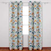 Deconovo Grommet Feather Print Thermal Insulated Gradual Change Blackout Curtain for Dining Room 110cm x 240cm Muticolor 1 Pair