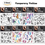 Fireboomoon 8 styles/About 100pcs Temporary Tattoos Lots of Butterfly Tattoos-Party Favours