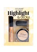 City Colour Highlight & Glow Shimmering Cream Matte Powder w/ Face Brush Set