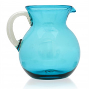 Large Jug (2.5 litres), hand blown from recycled glass in Mexico - Turquoise