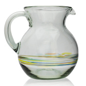 Large Jug (2.5 litres), hand blown from recycled glass in Mexico - Multi-coloured stripe