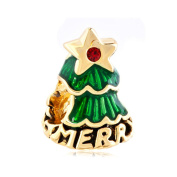 Q & Charms Golden Emerald Green Christmas Tree Charms Cheap Christmas Gift Sale European Bead Fit Pandora Bracelet