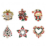 Maggie 6 PCS/Pack Rhinestone Crystal Christmas Brooch Pin Set for Christmas Decorations Ornaments Gifts