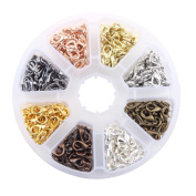 Mix 8 Colours (400pcs)Steel Nickel Free Lobster Claw Clasps Size 11x7x3.5mm for Jewellery Making Findings Plastic Box Kits
