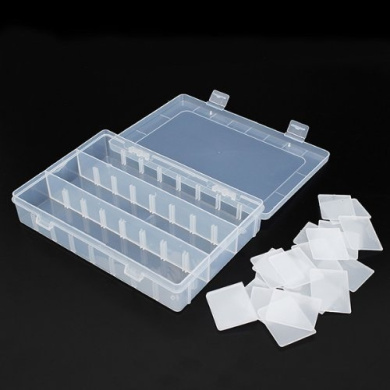 Generic 24 Compartments Adjustable Electronics Parts Gadgets Tool Storage Box Craft Beads Jewellery Box Organiser Plastic
