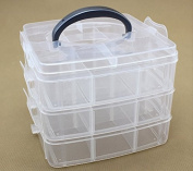 WT-PP 3 layer removable, stackable transparent plastic jewelery, craft, beads, tool storage box