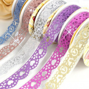 B & Y Washi Tape ,Lace Pattern Glitter Bling Self-adhesive Tape,Diamond Washi Tape Masking DIY Scrapbooking Lace Tape Sticker, 6 Rolls Tape Colour random