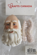 CRAFTS CANADA Craft SET of 1 PORCELAIN Detailed SANTA Doll HEAD 7.6cm - 0.6cm and PAIR of HANDS Each 5.1cm - 1cm Long