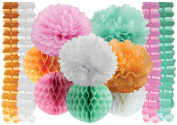 Tissue Paper Pom Poms Flowers + Hanging Garland Four-Leaf + Honeycomb Balls for Wedding Party Decoration Birthday Kids Bridal Shower Baby Shower 12 pcs Tissue Paper White Pink Peach Mint by Craftodo