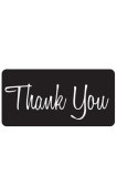 Thank You Embellishment - Black Rounded Rectangle 4ʺW x 2ʺH Pack of 25