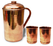 Pure Copper Pitcher Jug with two Copper Tumbler Glasses for Ayurveda Healing