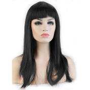 "Heat Resistant Synthetic Wig Japanese Kanekalon Fibre 7 Colours Full Wig with Bangs Long Straight 23"" / 58cm Wig for Women Girls Lady Fashion and Beauty"