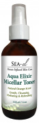 Sea El, Aqua Elixir Micellar Toner Skin Cleansing Water. Natural Gentle Cleansing, Hydrating and Refreshing 4 oz
