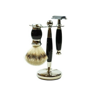 Golddachs Germany Shaving Set, Double Edge Razor, Silvertip Badger Brush, Chrome Stand, Black, Made In Germany, 3 Piece