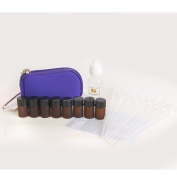 Essential Oil DIY Keychain Kit with (8) 2ml Drams (Vials), Pipettes, Blank Cap Stickers, Quick Reference Ailment Card & 15ml of Fractionated Coconut Oil - Fits in a Purse, Bag or Glove Box