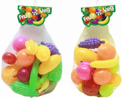Plastic Fruit And Vegetables Pretend Role Play Food Kitchen Shopping Groceries Toy 30 Piece Set