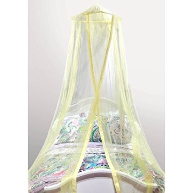 Mainstays Kids Satin Trim Canopy, 100-Percent Polyester | Featuring a Hoop and Netting-Hanging Ring (Yellow)