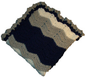 Football Team Colours White, Grey & Navy Blue Baby Blanket Cosy Size 80cm x 80cm