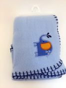 Garanimals 100% Polyester Fleece Soft, Comfy and Cosy 80cm x 100cm Baby Blanket in Baby Blue with Happy Blue Elephant and Navy Blue Contrast Whipstitch