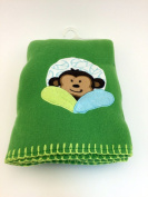 Garanimals 100% Polyester Fleece Soft, Comfy and Cosy 80cm x 100cm Baby Blanket in Deep Green with Happy Monkey and Yellow Contrast Whipstitch