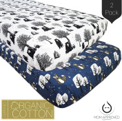 Kaydee Baby Fitted Crib Sheets - 2 Pack (Bear and Fox) - 100% Certified Organic Soft Cotton Standard Mattress Sheet - Perfect Nursery Bedding Gift Set For Boys and For Girls