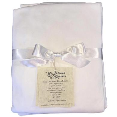 Victorian Organics Fitted Crib Sheets Soft Organic Cotton Nursery Baby Bedding Set Of 2 (White)