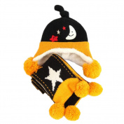 Winter Baby Kids Warm Earmuffs Hats Scarf Comfortable Plush Breathable Caps Best Gift Set-Black