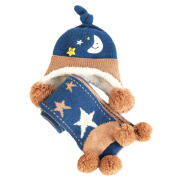 Winter Baby Kids Warm Earmuffs Hats Scarf Comfortable Plush Breathable Caps Best Gift Set-Blue
